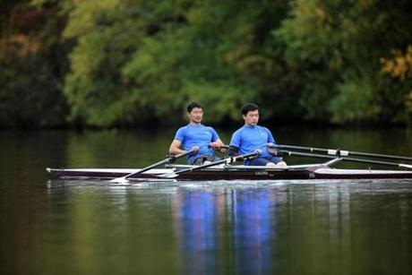 Dulguun Baasandavaa (left) and Tuvshinzaya Gantulga, who both went to college in the United States, make up the entire Mongolian Rowing Association.